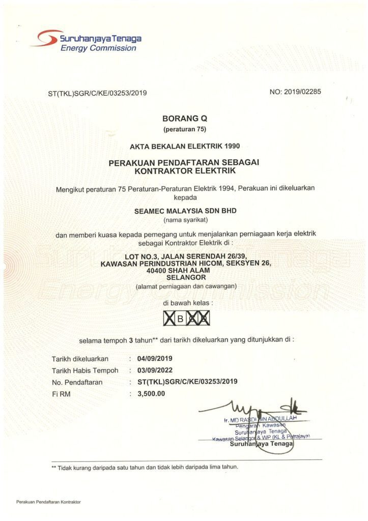 Obtained Electrical Contractor License by Suruhanjaya Tenaga, ST