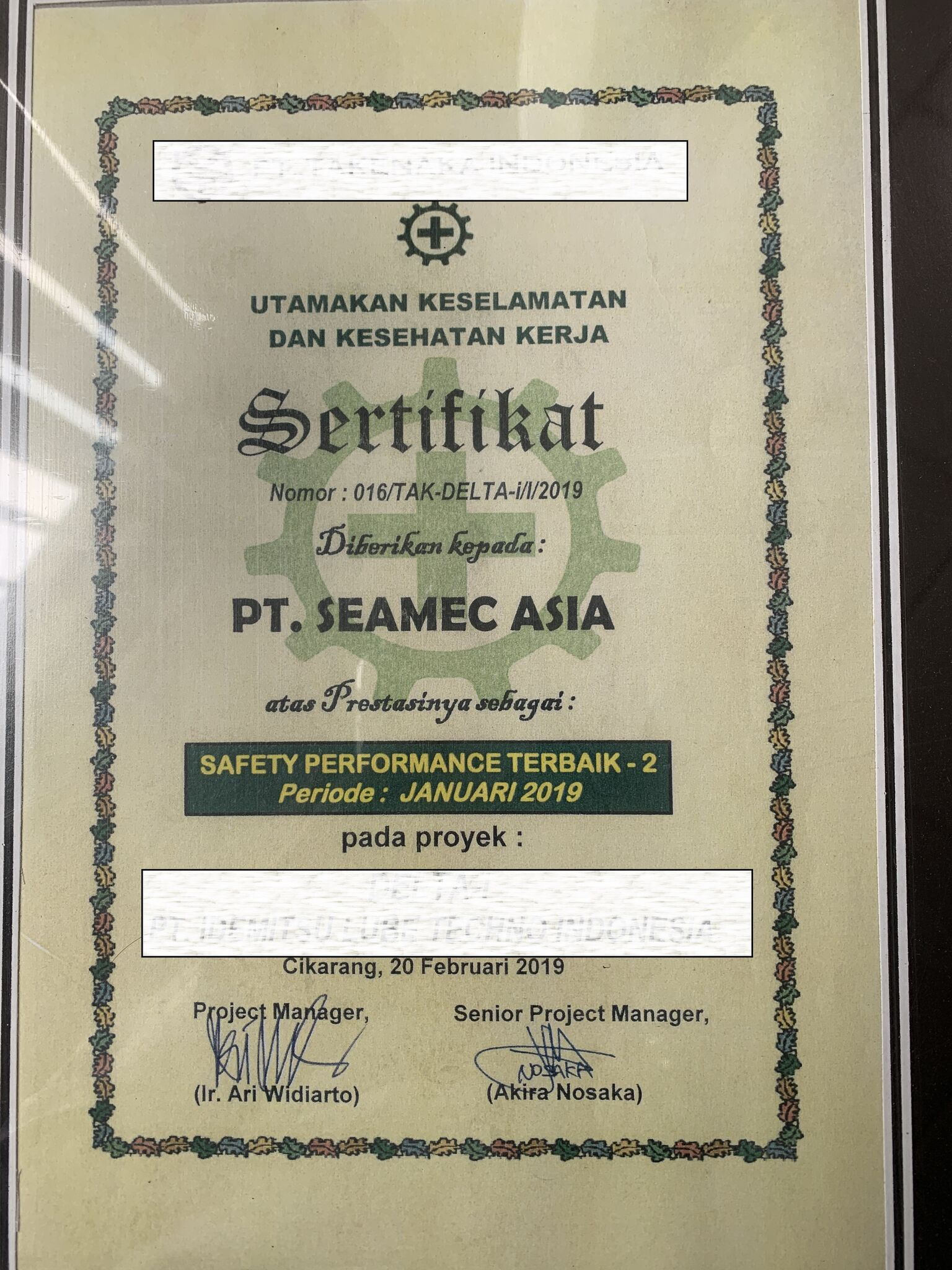 Awarded for Safety Team